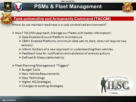 UNCLASSIFIED  How do we maintain readiness in a cost constrained environment?  How? TACOMs approach, Manage our Fleets with better information!  Data.