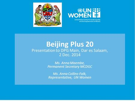 Beijing Plus 20 Presentation to DPG Main, Dar es Salaam, 2 Dec. 2014 Ms. Anna Maembe, Permanent Secretary MCDGC Ms. Anna Collins-Falk, Representative,