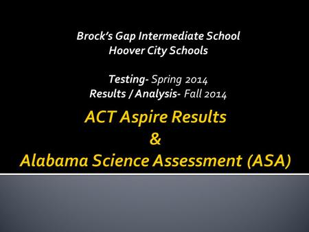 Brock's Gap Intermediate School Hoover City Schools Testing- Spring 2014 Results / Analysis- Fall 2014.
