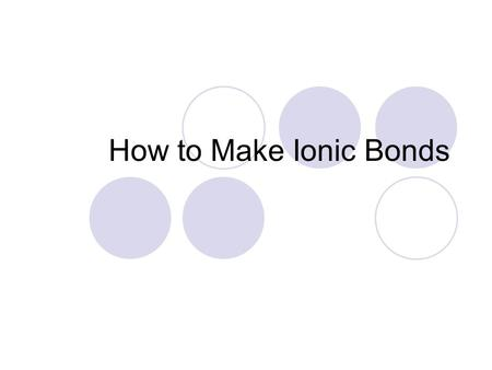 How to Make Ionic Bonds. Ionic Bonds Remember the Octet Rule? How many electrons do atoms need to be happy and stable? Ionic bonds are created when atoms.