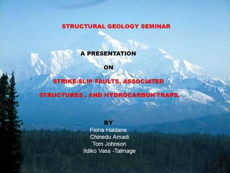 STRUCTURAL GEOLOGY SEMINAR