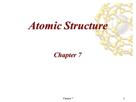 Chapter 71 Atomic Structure Chapter 7. 2 Electromagnetic Radiation -Visible light is a small portion of the electromagnetic spectrum.