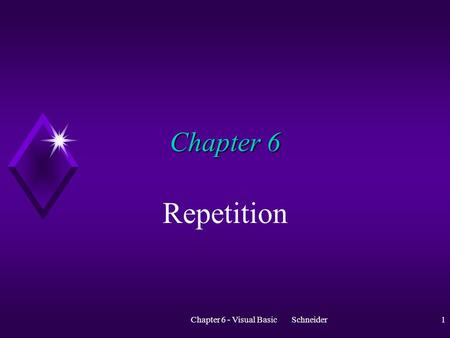Chapter 6 - Visual Basic Schneider1 Chapter 6 Repetition.