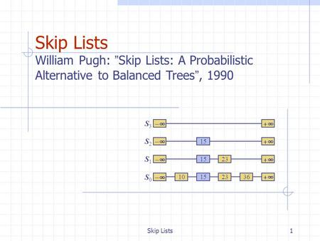 "Skip Lists1 Skip Lists William Pugh: "" Skip Lists: A Probabilistic Alternative to Balanced Trees "", 1990  S0S0 S1S1 S2S2 S3S3  103623 15."