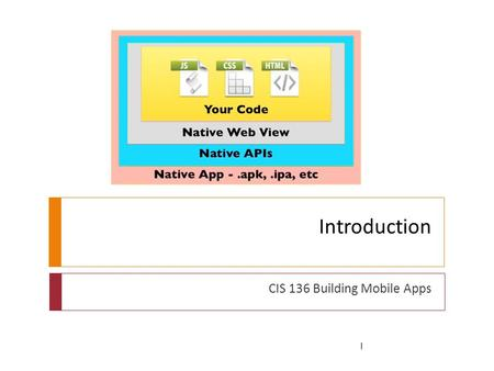 Introduction CIS 136 Building Mobile Apps 1. What did we do Software review 2.