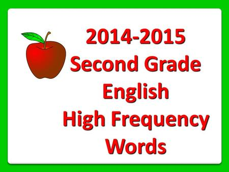 Second Grade English High Frequency Words