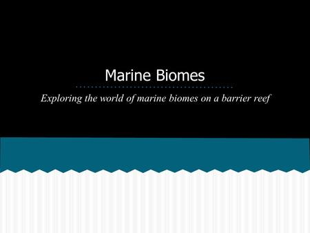 Marine Biomes Exploring the world of marine biomes on a barrier reef.