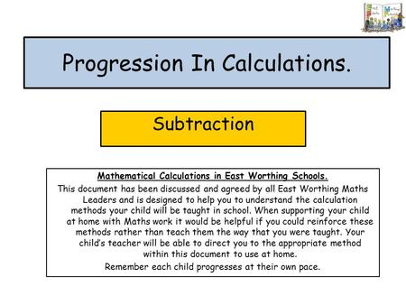 Progression In Calculations.
