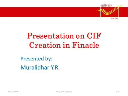 Presentation on CIF Creation in Finacle