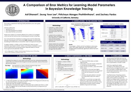 Berkeley Parlab 1. INTRODUCTION A Comparison of Error Metrics for Learning Model Parameters in Bayesian Knowledge Tracing 2. CORRELATIONS TO THE GROUND.
