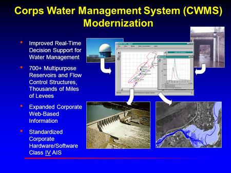 Corps Water Management System (CWMS) Modernization Improved Real-Time Decision Support for Water Management 700+ Multipurpose Reservoirs and Flow Control.