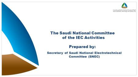 The Saudi National Committee of the IEC Activities Prepared by: Secretary of Saudi National Electrotechnical Committee (SNEC)