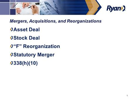 "1 Mergers, Acquisitions, and Reorganizations Asset Deal Stock Deal ""F"" Reorganization Statutory Merger 338(h)(10)"