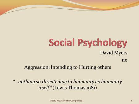 Social Psychology David Myers 11e