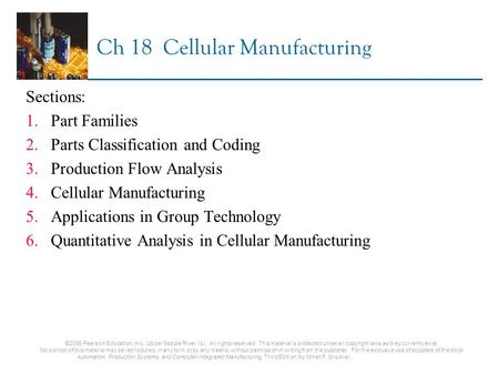 Ch 18 Cellular Manufacturing