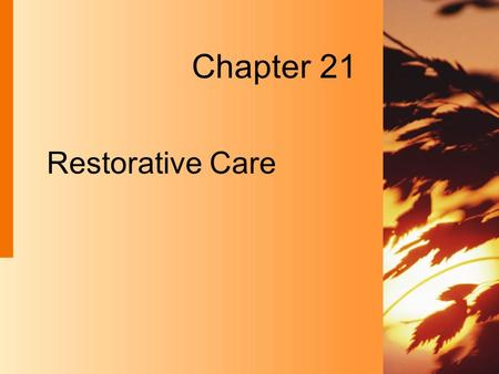 Restorative Care Chapter 21. 21-2 Copyright 2004 by Delmar Learning, a division of Thomson Learning, Inc. Restorative Care  Takes place in many types.