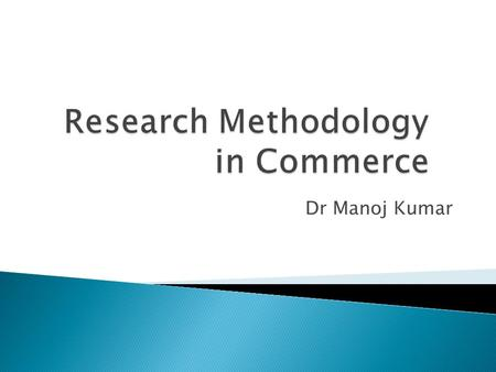 Research Methodology in Commerce