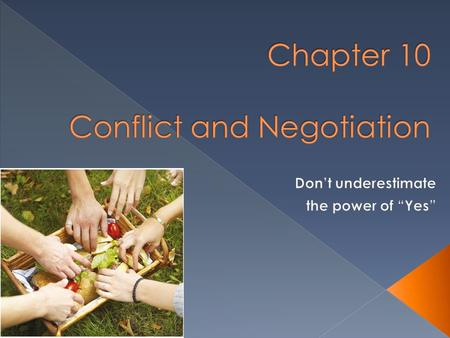 Chapter 10 Conflict and Negotiation
