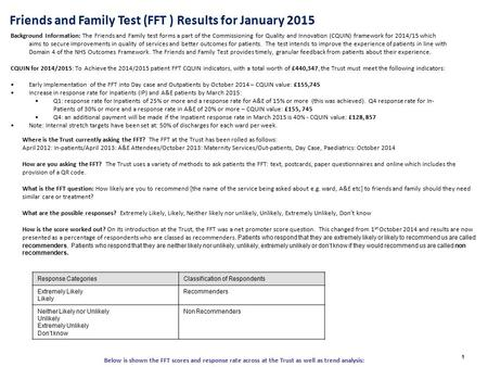 Friends and Family Test (FFT ) Results for January 2015 1 Background Information: The Friends and Family test forms a part of the Commissioning for Quality.