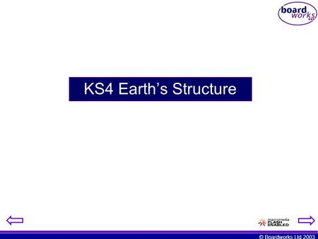 © Boardworks Ltd 2003 KS4 Earth's Structure. © Boardworks Ltd 2003 Structure of the Earth the crust mantle outer core inner core.