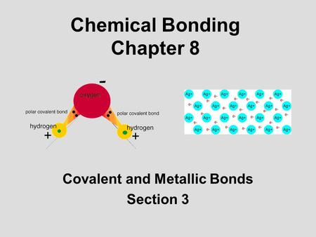 Chemical Bonding Chapter 8 Covalent and Metallic Bonds Section 3.