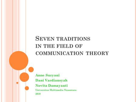 Seven traditions in the field of communication theory