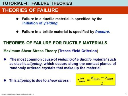 THEORIES OF FAILURE THEORIES OF FAILURE FOR DUCTILE MATERIALS