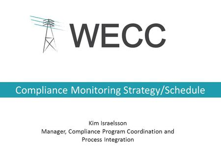 Compliance Monitoring Strategy/Schedule Kim Israelsson Manager, Compliance Program Coordination and Process Integration.