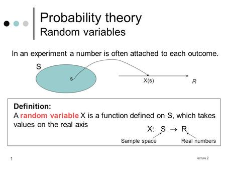 Lecture 2 1 Probability theory Random variables Definition: A random variable X is a function defined on S, which takes values on the real axis In an experiment.