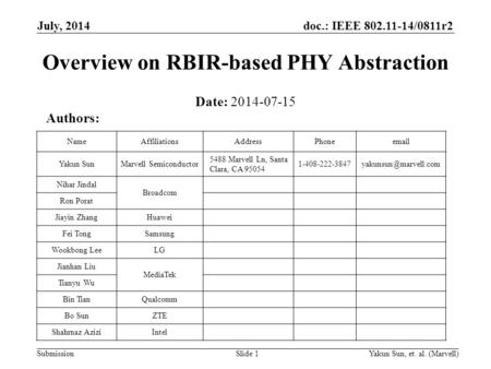 Doc.: IEEE 802.11-14/0811r2 SubmissionYakun Sun, et. al. (Marvell)Slide 1 Overview on RBIR-based PHY Abstraction Date: 2014-07-15 Authors: NameAffiliationsAddressPhoneemail.