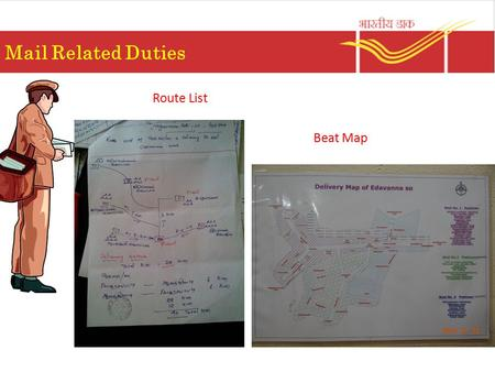 Mail Related Duties Route List Beat Map.