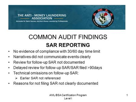 AML/BSA Certification Program Level I 1 COMMON AUDIT FINDINGS SAR REPORTING No evidence of compliance with 30/60 day time limit Narratives did not communicate.