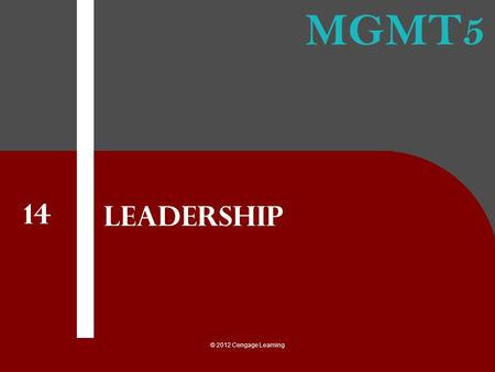 Leadership 14 © 2012 Cengage Learning.