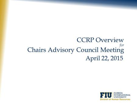 Chairs Advisory Council Meeting
