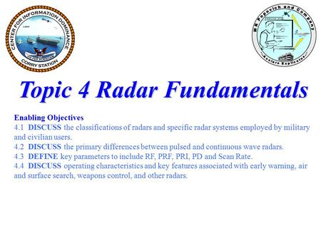 Topic 4 Radar Fundamentals Enabling Objectives 4.1 DISCUSS the classifications of radars and specific radar systems employed by military and civilian users.
