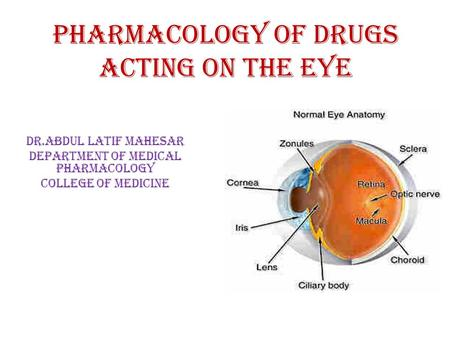 Pharmacology of drugs acting on the eye