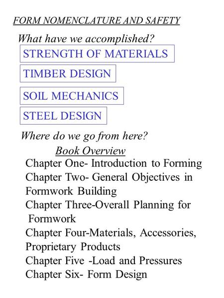 FORM NOMENCLATURE AND SAFETY What have we accomplished? STRENGTH OF MATERIALS TIMBER DESIGN SOIL MECHANICS STEEL DESIGN Where do we go from here? Chapter.