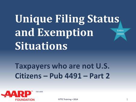 TAX-AIDE Unique Filing Status and Exemption Situations Taxpayers who are not U.S. Citizens – Pub 4491 – Part 2 NTTC Training – 2014 1 Entire Lesson.