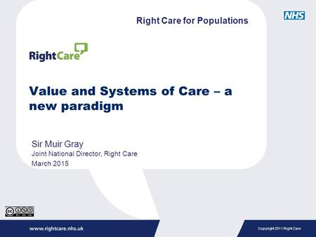 Copyright 2011 Right Care Value and Systems of Care – a new paradigm Sir Muir Gray Joint National Director, Right Care March 2015 Right Care for Populations.