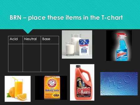 BRN – place these items in the T-chart AcidNeutralBase.
