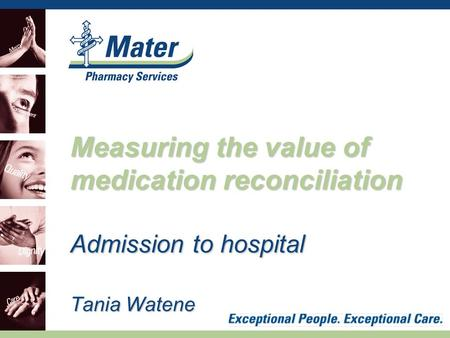 Admission to hospital Tania Watene Measuring the value of medication reconciliation.