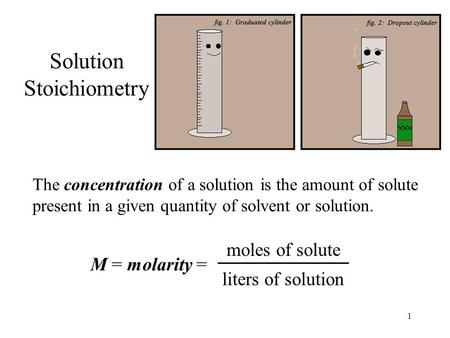 1 Solution Stoichiometry The concentration of a solution is the amount of solute present in a given quantity of solvent or solution. M = molarity = moles.