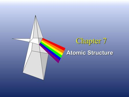 Chapter 7 Atomic Structure. Niels Bohr n He said the atom was like a solar system. n The electrons were attracted to the nucleus because of opposite.