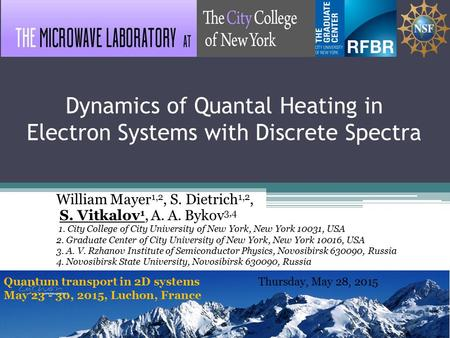 Dynamics of Quantal Heating in Electron Systems with Discrete Spectra William Mayer 1,2, S. Dietrich 1,2, S. Vitkalov 1, A. A. Bykov 3,4 1. City College.