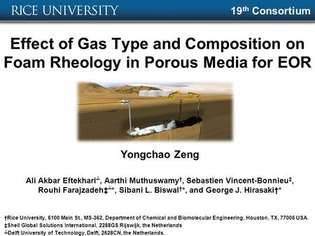 19th Consortium Effect of Gas Type and Composition on Foam Rheology in Porous Media for EOR Yongchao Zeng Ali Akbar Eftekhari┴, Aarthi Muthuswamy†, Sebastien.