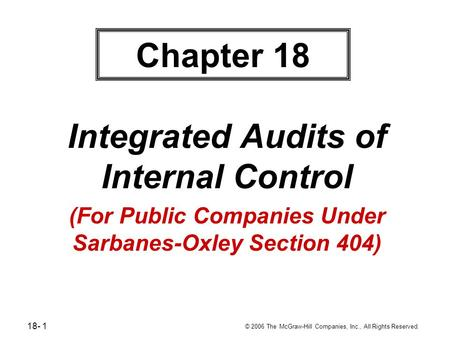 18- 1 © 2006 The McGraw-Hill Companies, Inc., All Rights Reserved. Chapter 18 Integrated Audits of Internal Control (For Public Companies Under Sarbanes-Oxley.