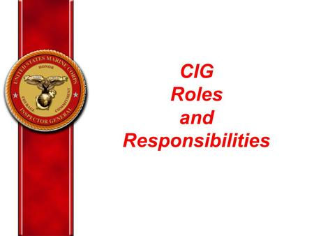 "CIG Roles and Responsibilities. CIG ""A&I"" Primary Functions Manage CIG Hotline Program – FA 316 Report Senior Official Complaints Conduct Military Reprisal."