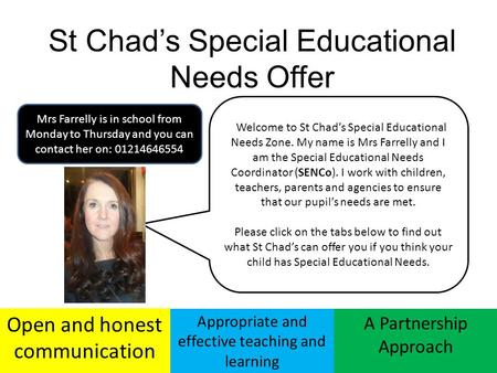 St Chad's Special Educational Needs Offer