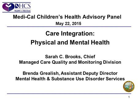 Care Integration: Physical and Mental Health