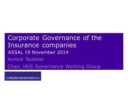 Corporate Governance of the Insurance companies